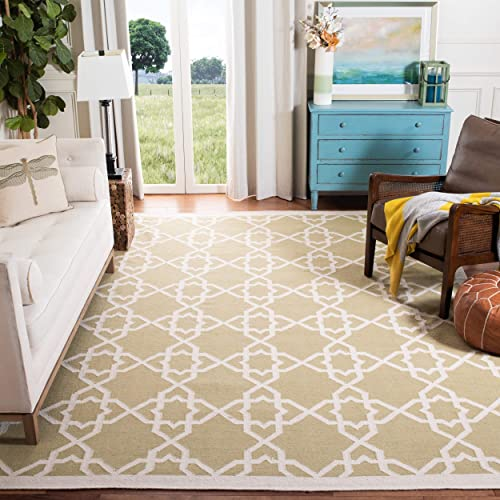 Safavieh Dhurries Collection DHU548A Hand Woven Olive and Ivory Premium Wool Area Rug 6 x 9