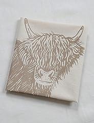 Cow Tea Towel - Organic Flour Sack Cotton - Scottish Highland Cow - Mocha Brown Print