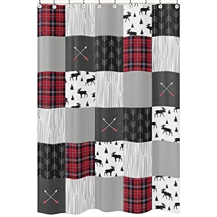Amazon Sweet Jojo Designs Grey Black And Red Woodland Plaid