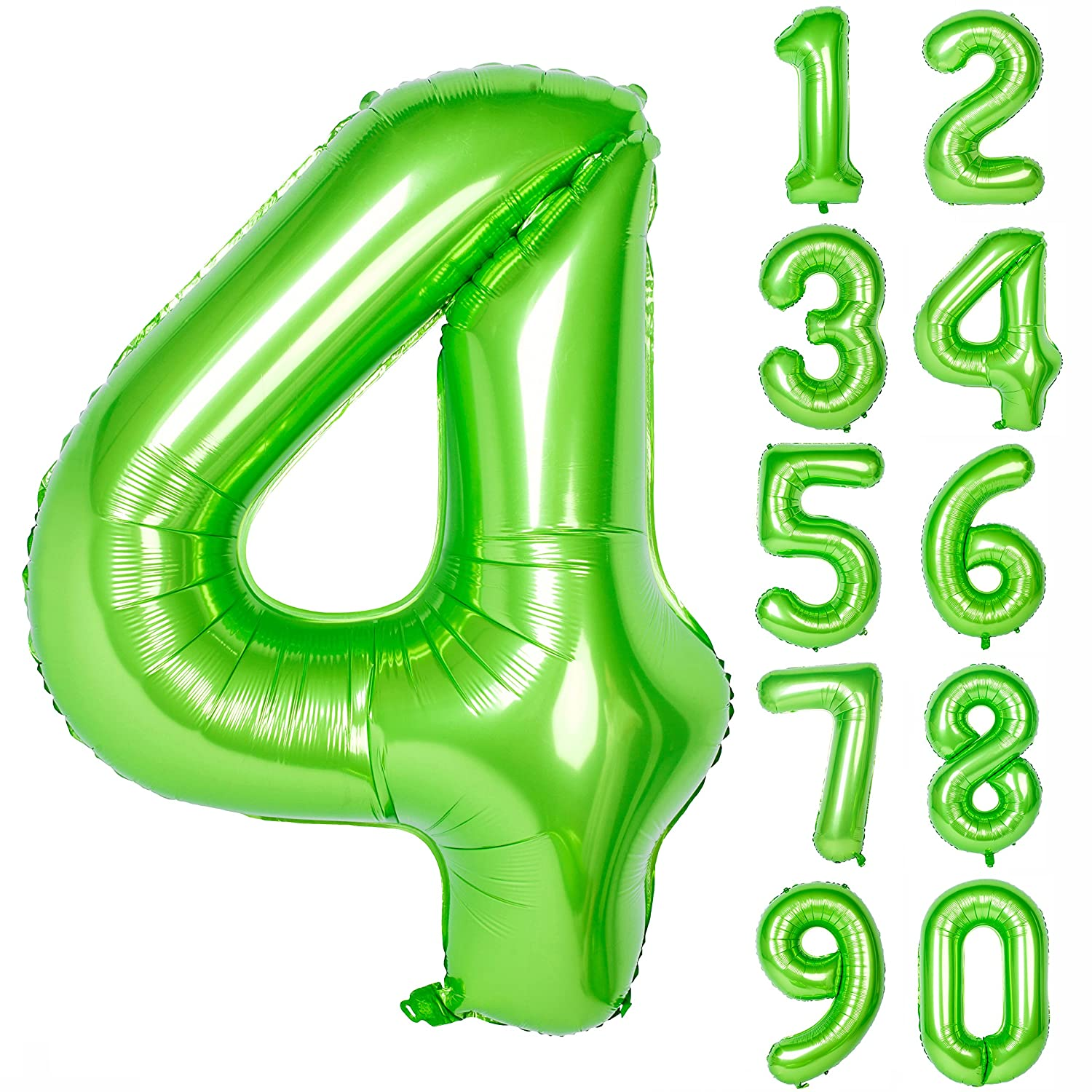40 Inch Green Large Numbers 0-9 Birthday Party Decorations Helium Foil Mylar Big Number Balloon Digital 4