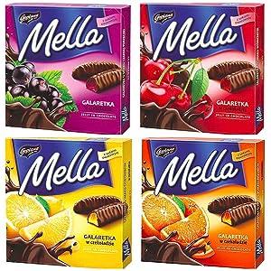 Jutrzenka MELLA Chocolate Coated Jelly Variety Pack of 4 x 6.7 oz. ORANGE, LEMON, CHERRY & BLACKCURRANT. Product of Poland.