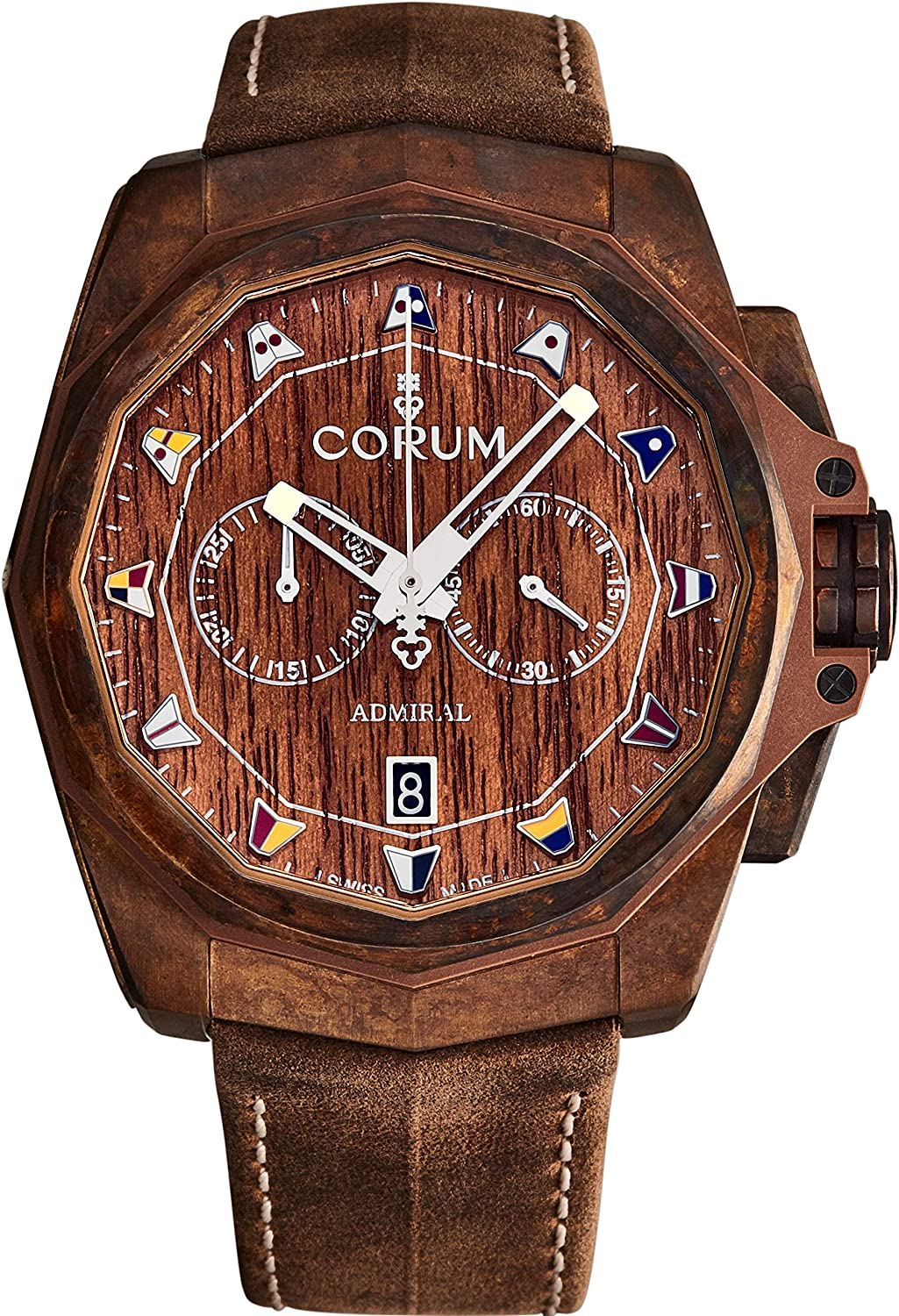 Corum Men's 'Admiral Cup' Automatic Chronograph Watch - Wood Decorated Dial with Silver Luminous Hands - Sapphire Crystal and Brown Leather Strap Bronze Swiss Watch for Men A116/03475
