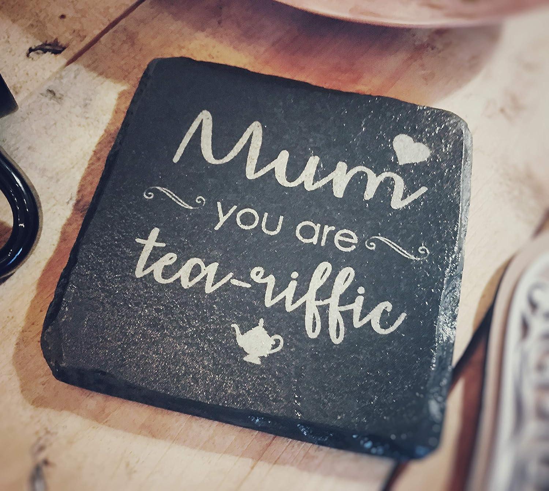 Posavasos de pizarra grabado con divertido mensaje de té para mamá – 11 cm cuadrado – perfecto para Navidad, boda, cumpleaños, aniversario, día del padre/madre nuevo hogar: Amazon.es: Hogar