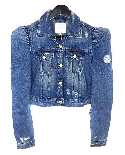 2b71a62f109bd Zara Women s Denim jacket with puff sleeves 5252 016 (Large)  Amazon ...