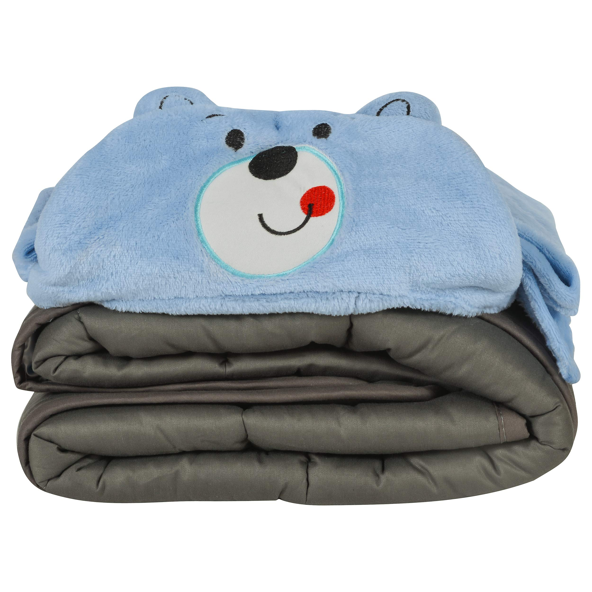 Sleepifier Weighted Blanket Comforter for Kids 100% Cotton Microfiber - Ultra Soft & Comfortable - Highly Breathable - No Heating Up - Deep Pressure Stimulation - Includes Hooded Towel