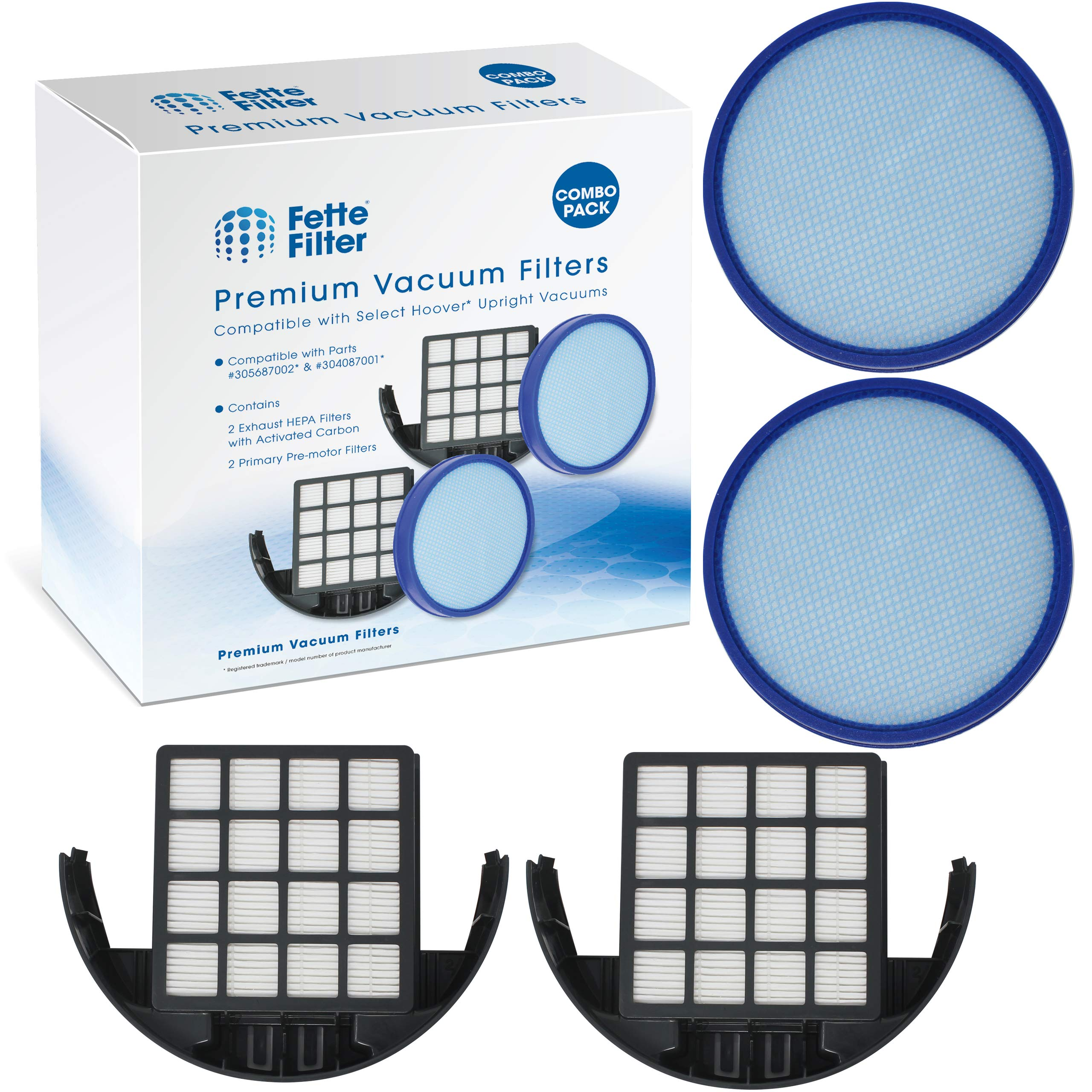 Vacuum Filter Kit Compatible with Hoover 304087001 & 305687002 WindTunnel (Pack of 2) by Fette Filter