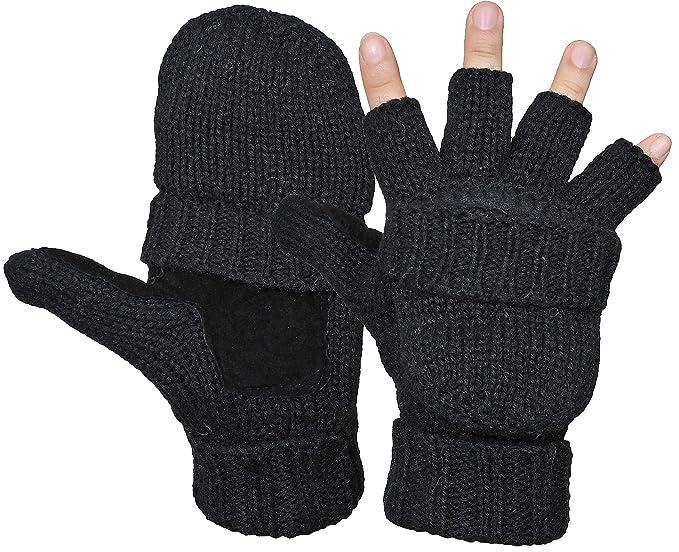 4f3f1a3d8b0f2 Yeeasy Men's Winter Gloves Warm Wool Knitted Convertible Fingerless Mittens  Unisex (Black)