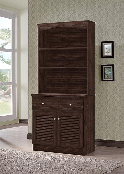 Wholesale Interiors Agni Buffet And Hutch Kitchen Cabinet Dark Brown