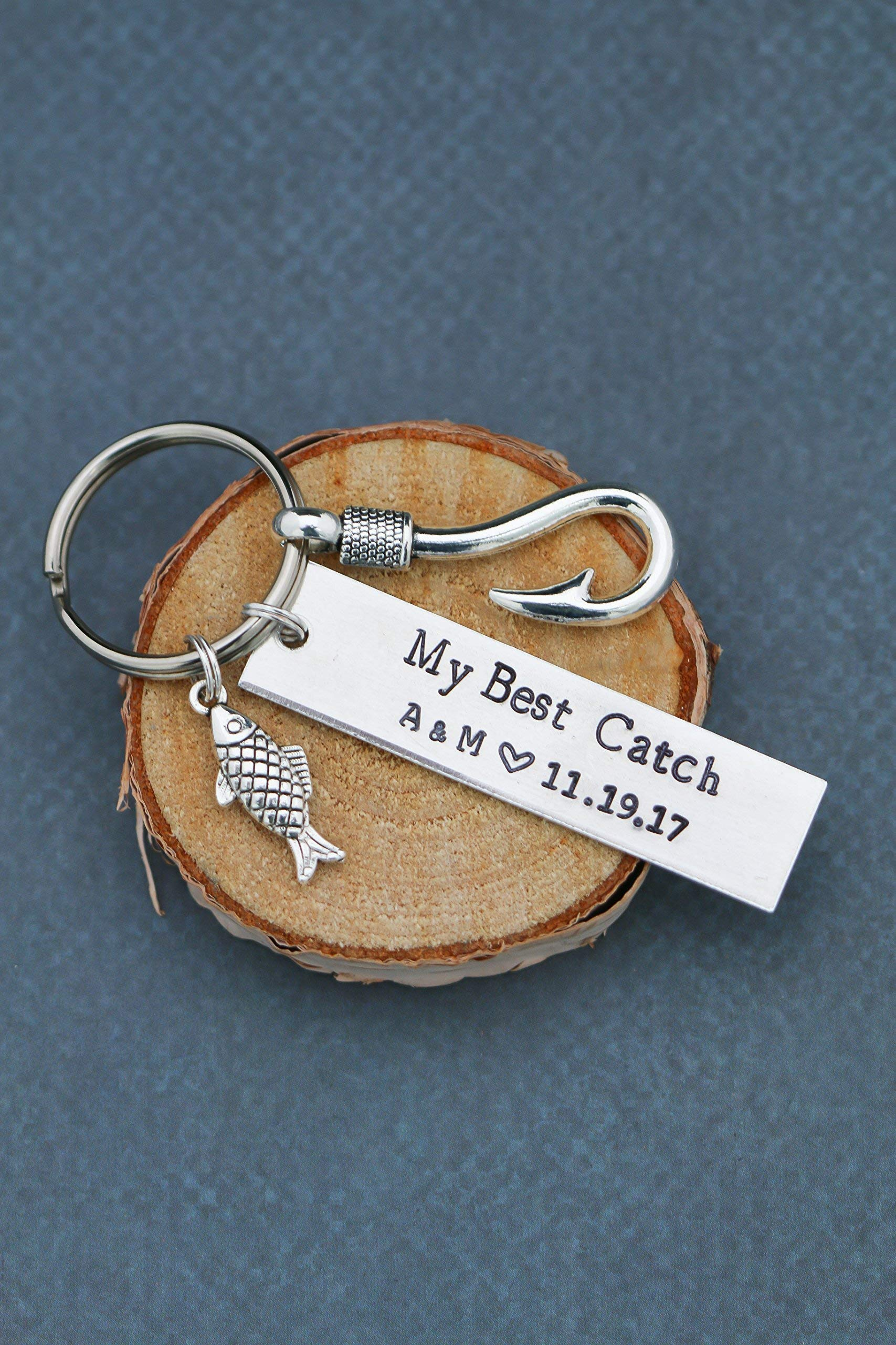 Fisherman Gift - My Best Catch Keychain - DII ABC - Husband Boyfriend Fishing - Anniversary Valentine's Day - 1'' x .5'' Rectangle Fish Hook - Fast 1 Day Shipping