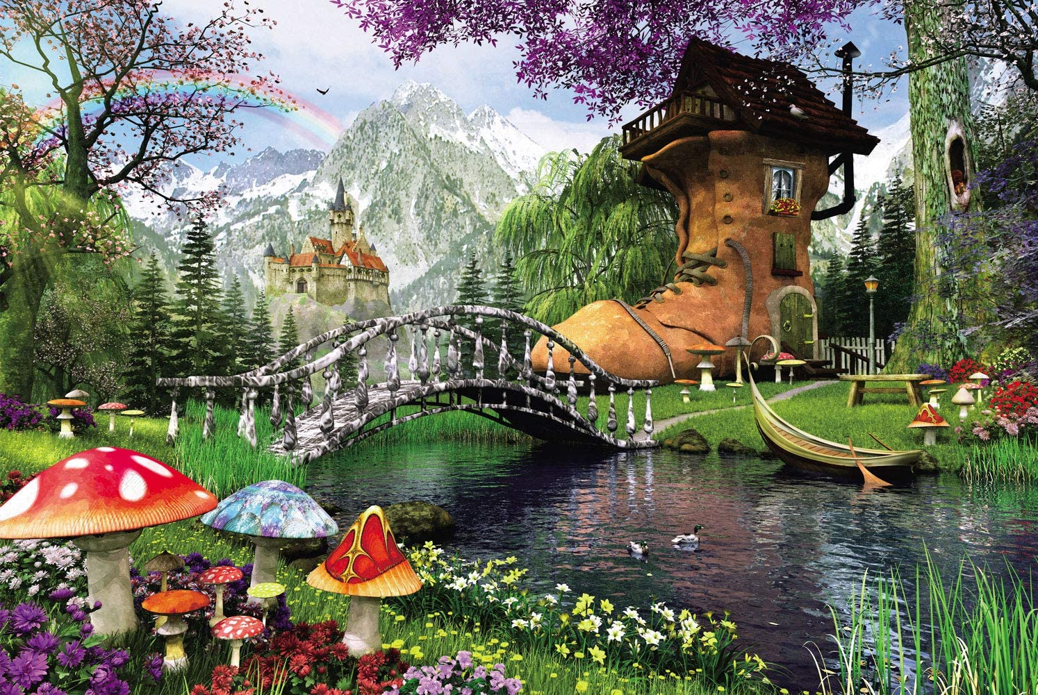 Agirlgle Jigsaw Puzzles 1000 Pieces for Adults for Kids-Old Shoe House,Every Piece is Made of Basswood,Softclick Technology Means Pieces Fit Together Perfectly Wood Jigsaw Puzzles