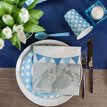 20x Servietten Dots 33x33cm hellblau Geburtstag Hochzeit Taufe Tischdeko