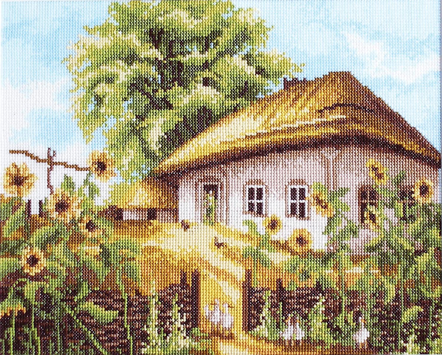 ; Use as Home Decor Counted Cross Stitch Kit Sunny day by Povitrulya Embroidery Kit with Pattern Gift or Present for parents and loved ones 25 х 20,5cm Set for Adults ; Size 9,84х 8,07