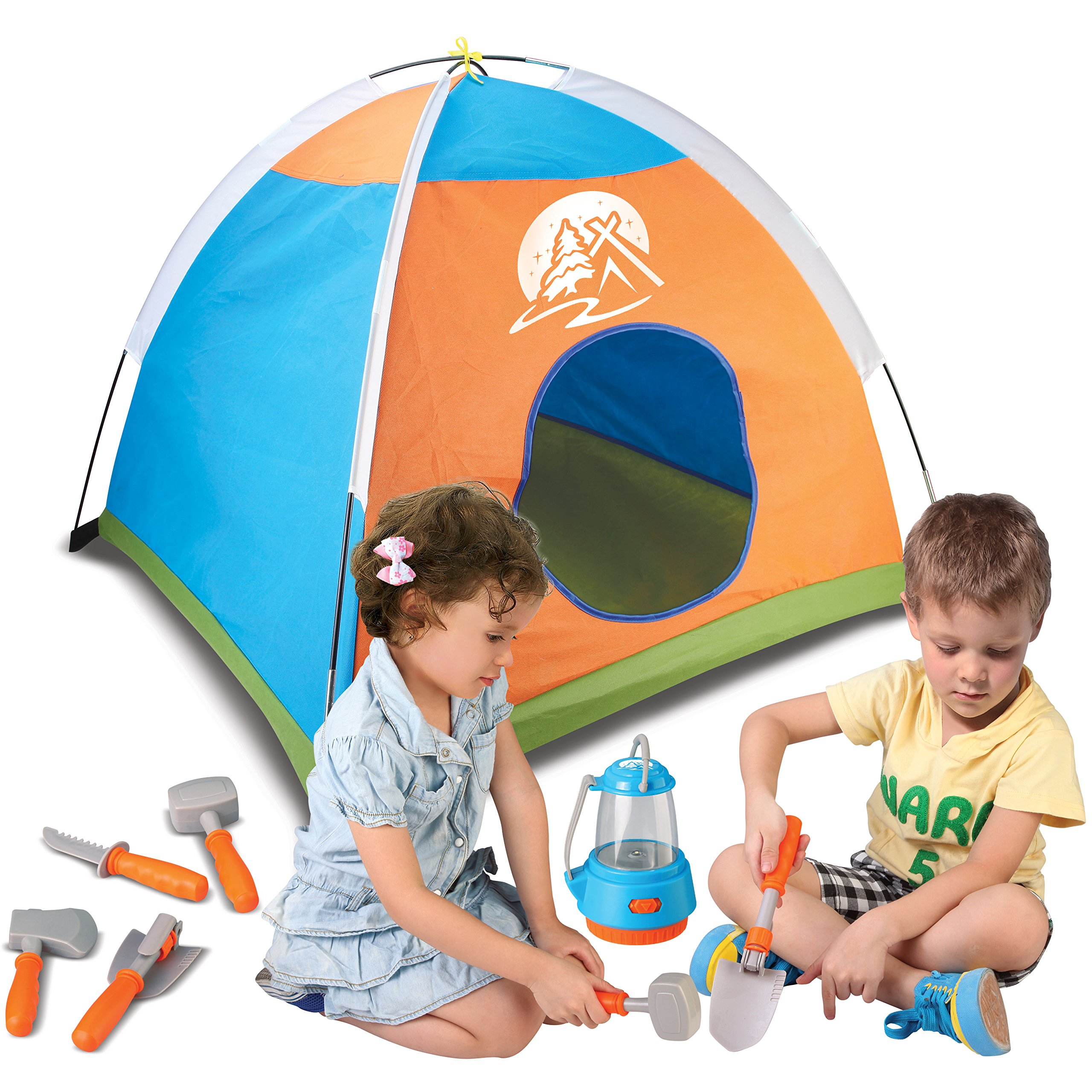 Little Explorer Camping Tent and Tools Toy Gear Play Set for Kids with Lantern