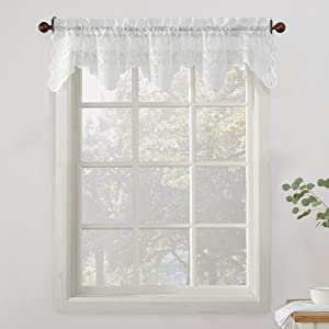 """No. 918 Alison Floral Lace Sheer Kitchen Curtain Valance, 58"""" x 14"""", White"""
