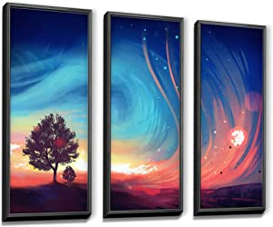 MARG Wall Decorations for Living Room, Night Landscape Framed Canvas Prints for Bedroom, 12x32inch/Piece, 3 Panels, Room Decor