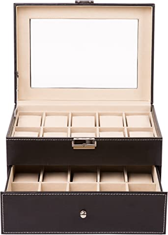 TRESKO® Caja para 20 de Relojes organizador de relojes caja relojero estuche relojero para almacenar relojes, de piel sintética, negro: Amazon.es: Relojes