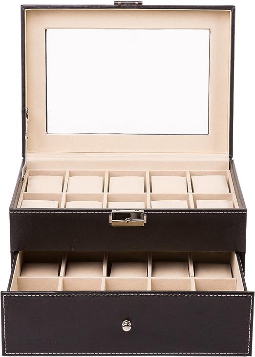 TRESKO® Caja para 20 de Relojes organizador de relojes caja relojero estuche relojero para almacenar relojes, de ...