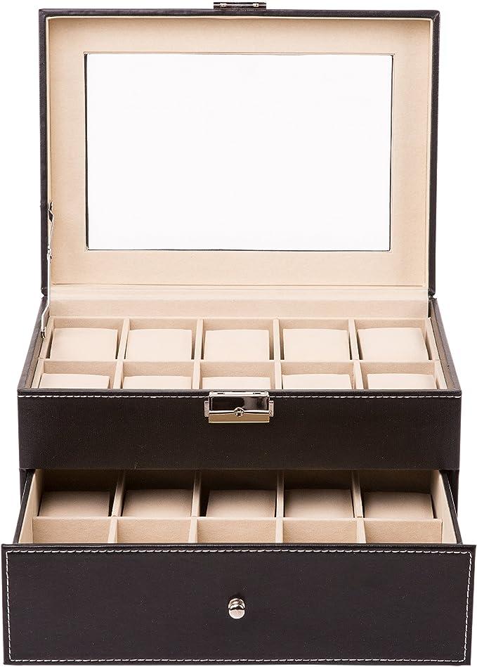 TRESKO® Caja para 20 de Relojes organizador de relojes caja ...