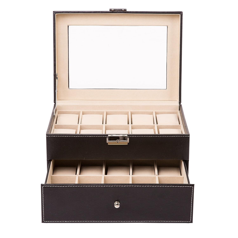 TRESKO® Caja para 20 de Relojes organizador de relojes caja relojero estuche relojero para almacenar