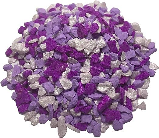 Ni _ ORN jardín piedras naturales color Dye para Kid, jardín bandeja DIY, maceta árbol de flores y mini 100 G., Purple-White: Amazon.es: Jardín