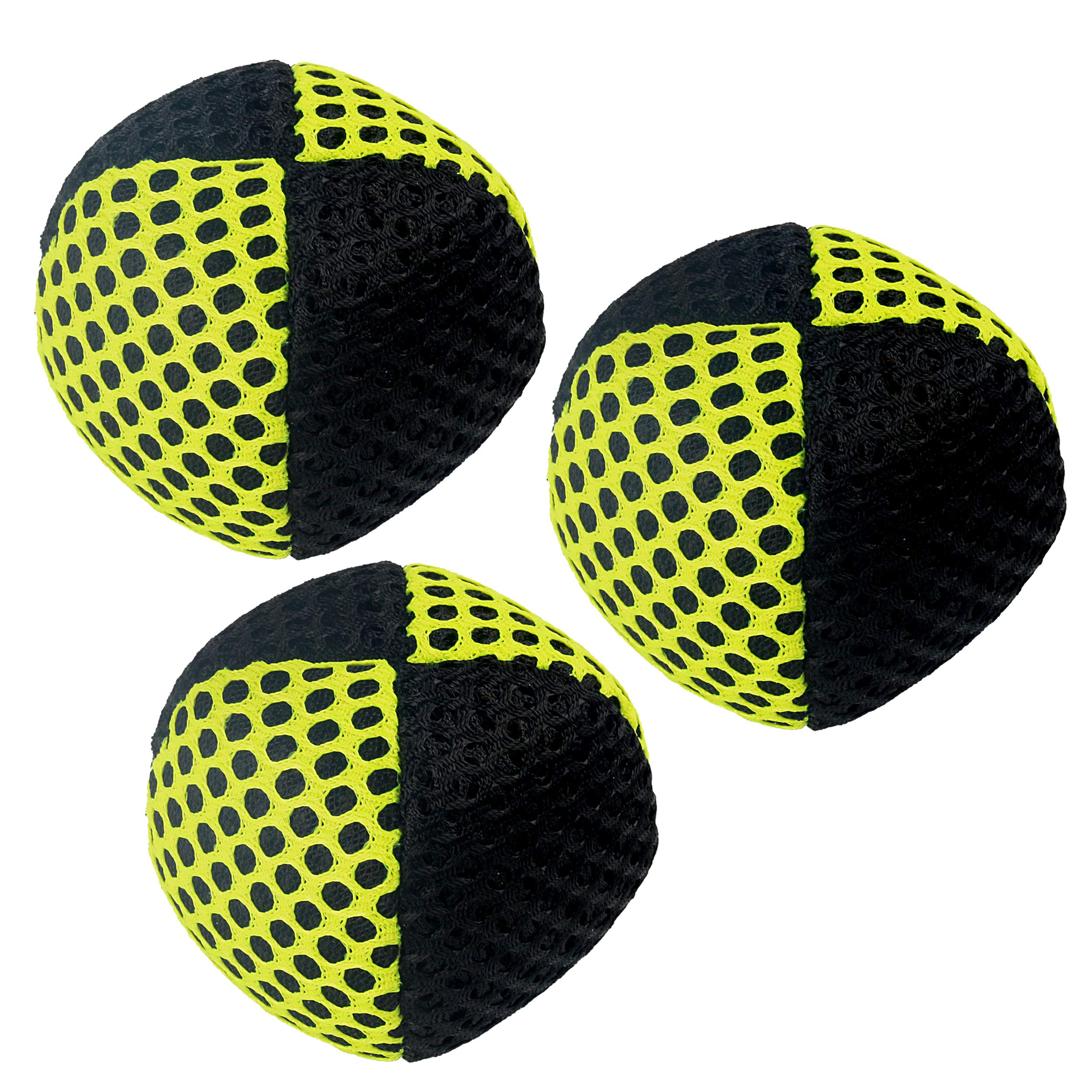 Speevers Xballs Juggling Balls Professional Set of 3 Fresh Design - 10 Beautiful Colors Available - 2 Layers of Net Carry Case - Choice of The World Champions (Black - Yellow, 90g) by Speevers