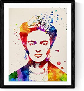 Nacnic Prints Frida Kahlo Mexican painter.Mexican wall decor, Aztec art , Chicano art - Set of 1 - Unframed 11x17 inch Size - 250g Paper - Beautiful Poster Painting for Home Office Living Room