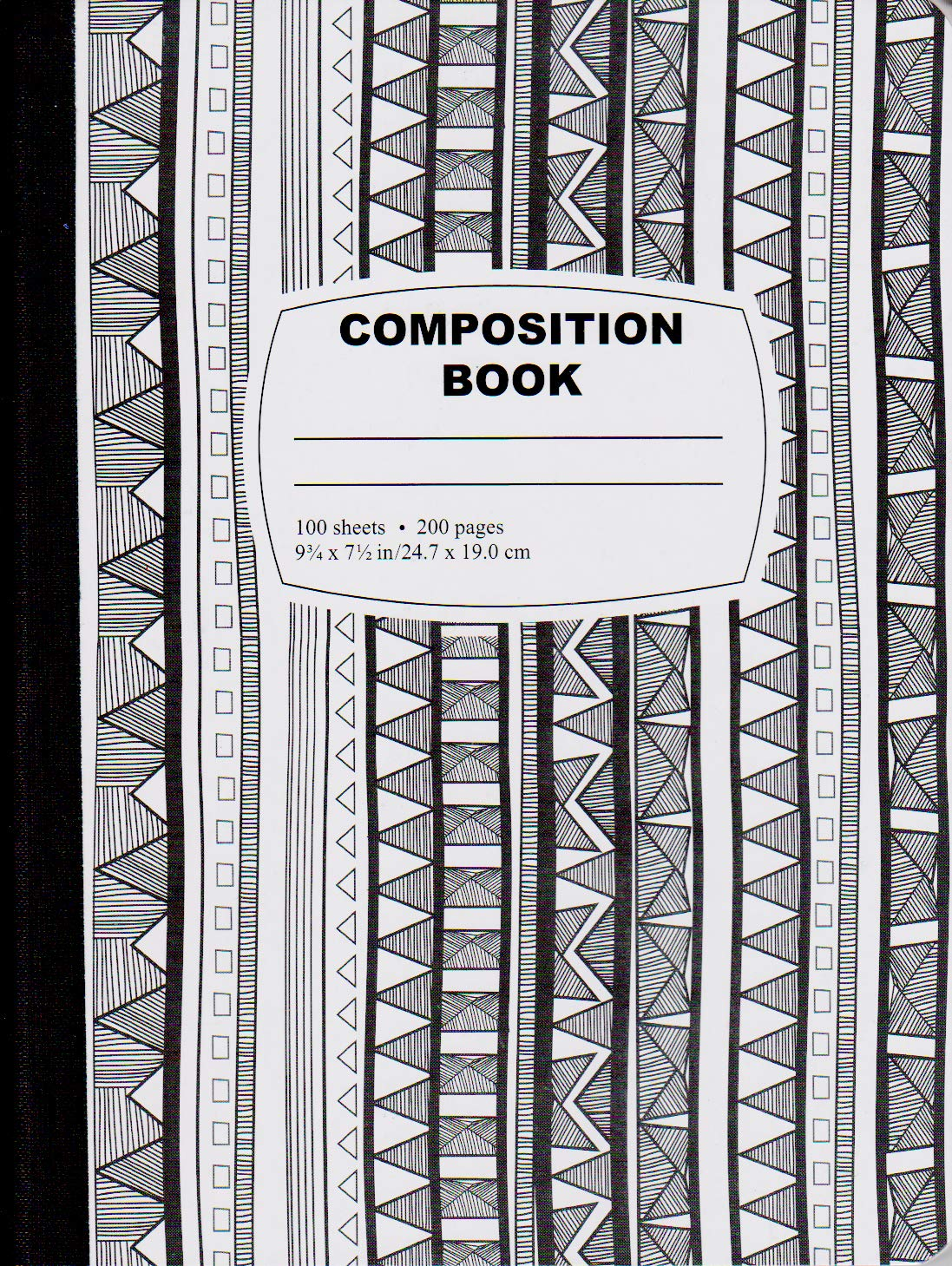 Diamond & Diamond Patterns Black/White Composition Notebook - 100 Sheets, Case Pack of 48, Ideal for Bulk Buyers