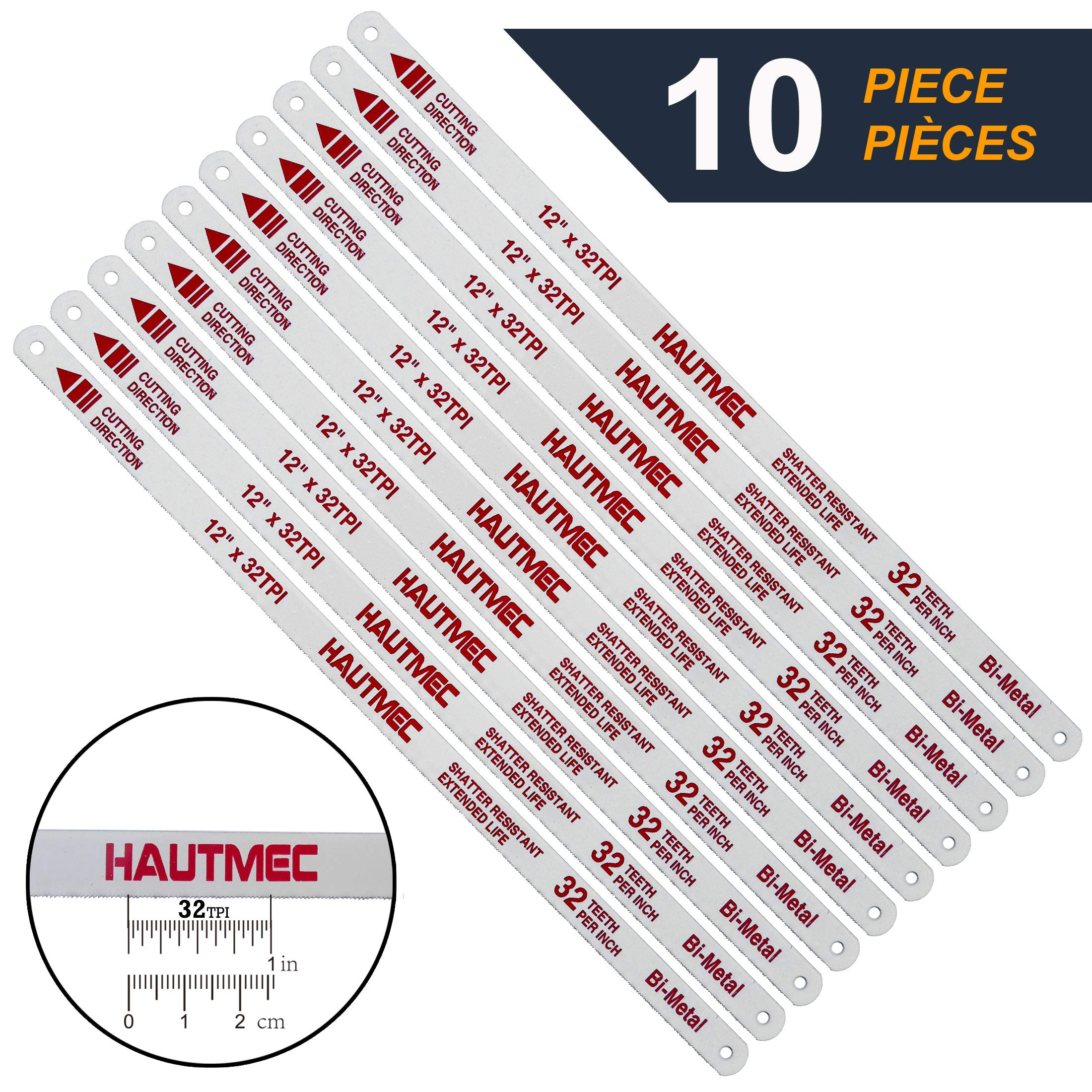 HAUTMEC Hacksaw Replacement Blades BI-METAL (10 Pack) High Speed Steel Grounded Teeth 32 TPI x 12'' Length 0.025'' Thick x 1/2'' Width HT0018-CT by HAUTMEC (Image #1)
