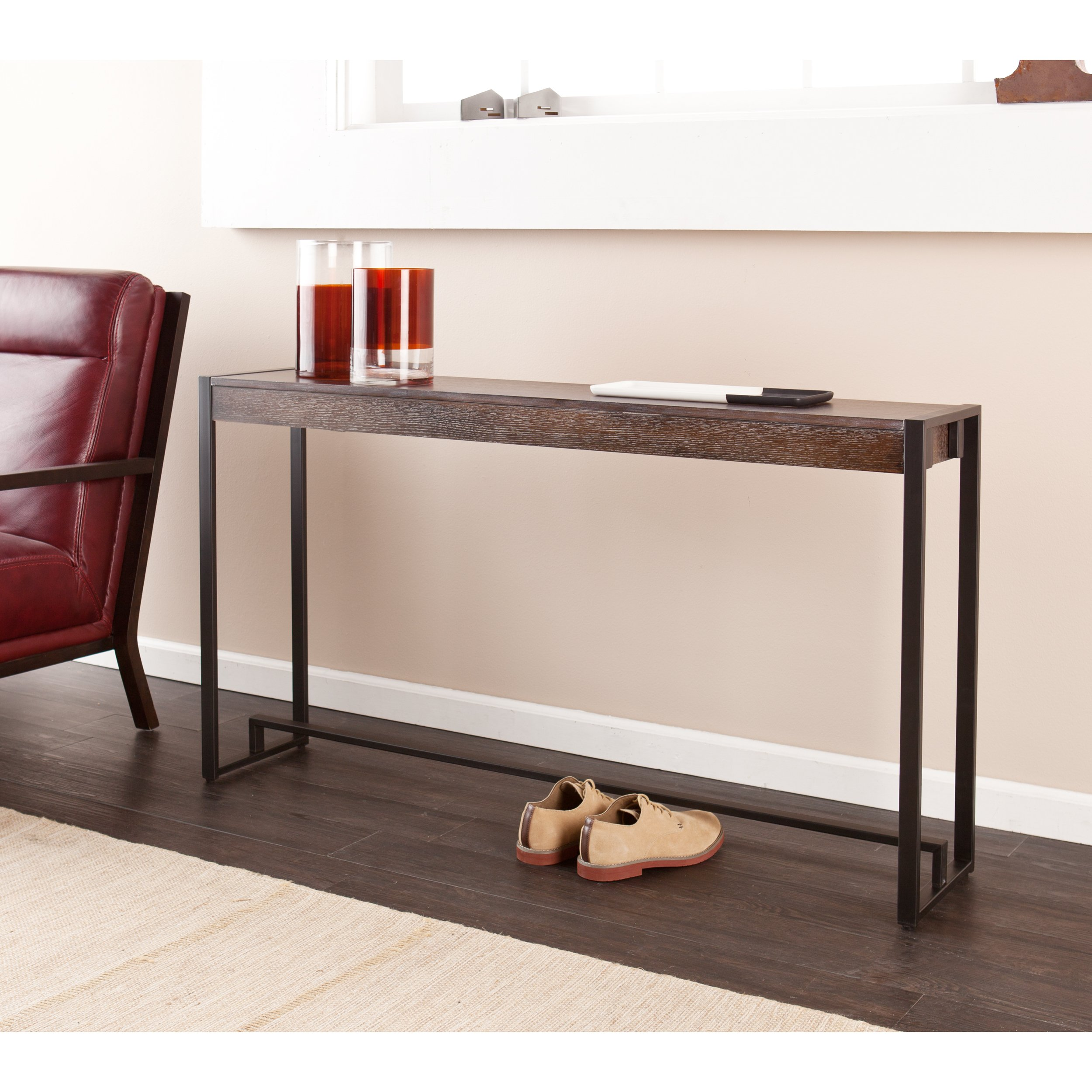 Macen Media Skinny Console Table - Slim Profile - Burnt Oak Wood Finish w/ Metal Frame by Southern Enterprises