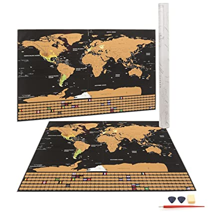 Amazon scratch off world map poster with us states and scratch off world map poster with us states and countries track your adventures includes gumiabroncs Gallery