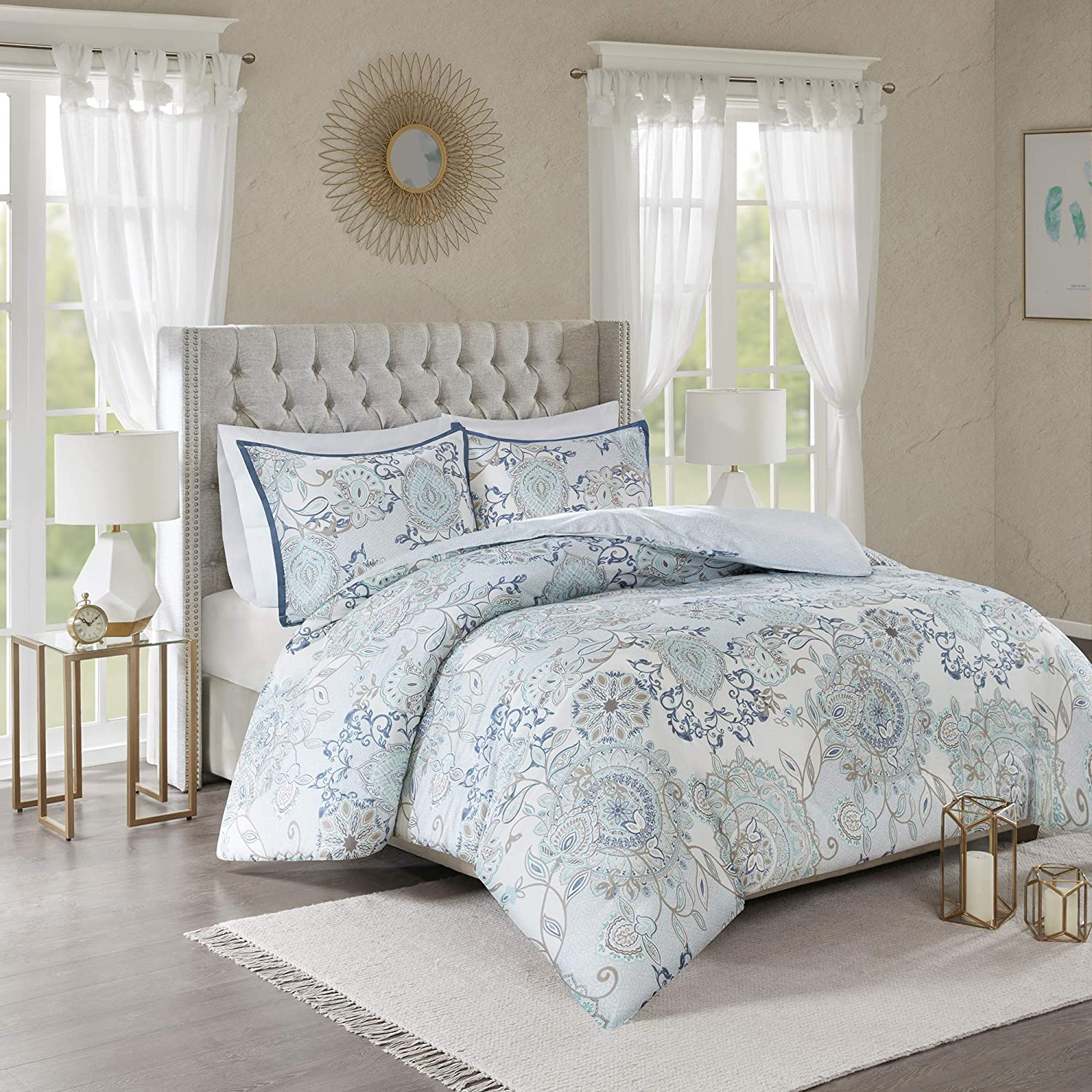 "Madison Park Isla Cotton Duvet-Casual Medallion Floral to Damask Print Reverse All Season Comforter Cover Bedding Set with Matching Shams, Full/Queen(90""x90""), Blue 3 Piece"