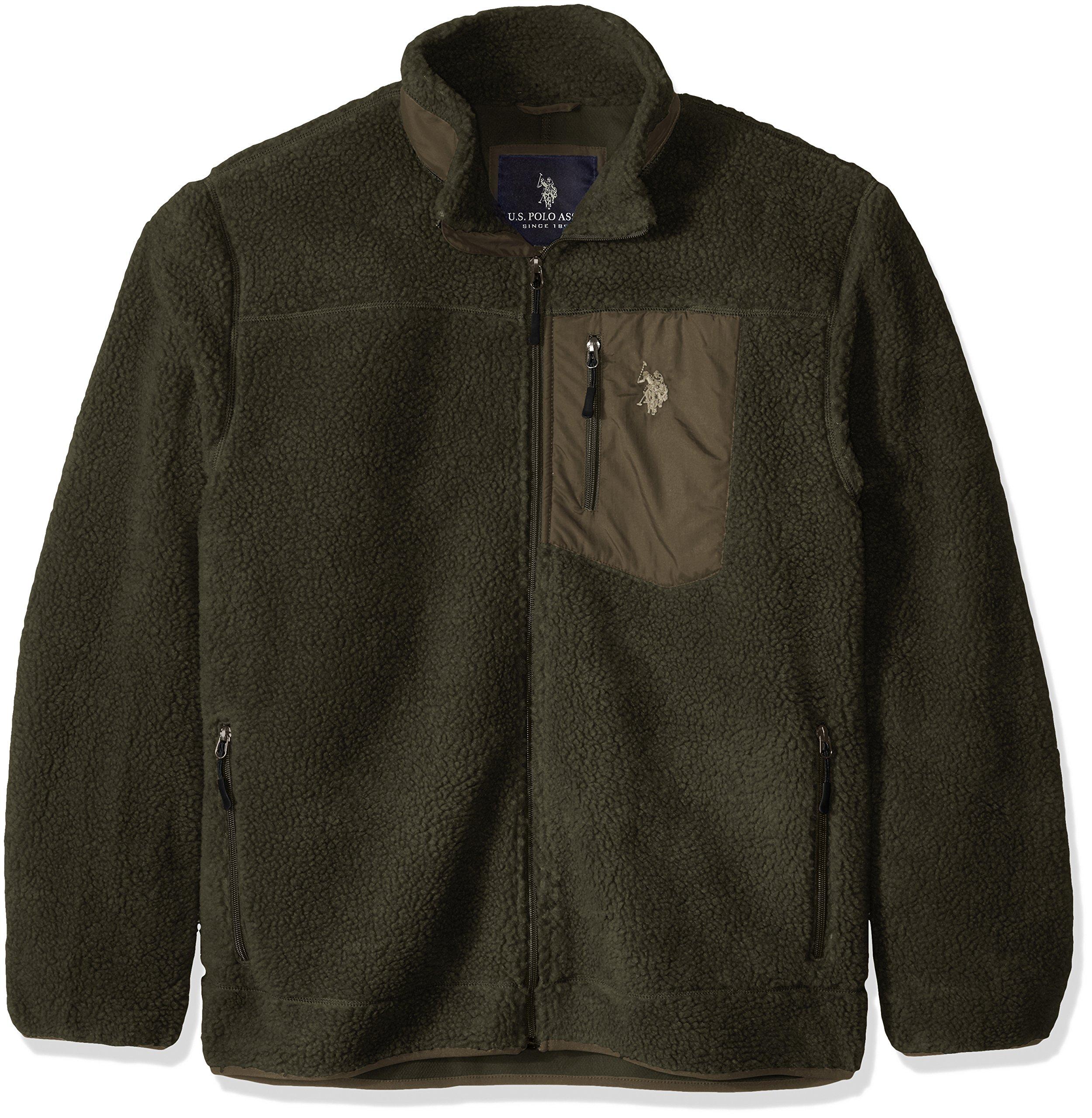 ویکالا · خرید  اصل اورجینال · خرید از آمازون · U.S. Polo Assn. Men's Faux Sherpa Jacket, Forest Night, XX-Large wekala · ویکالا