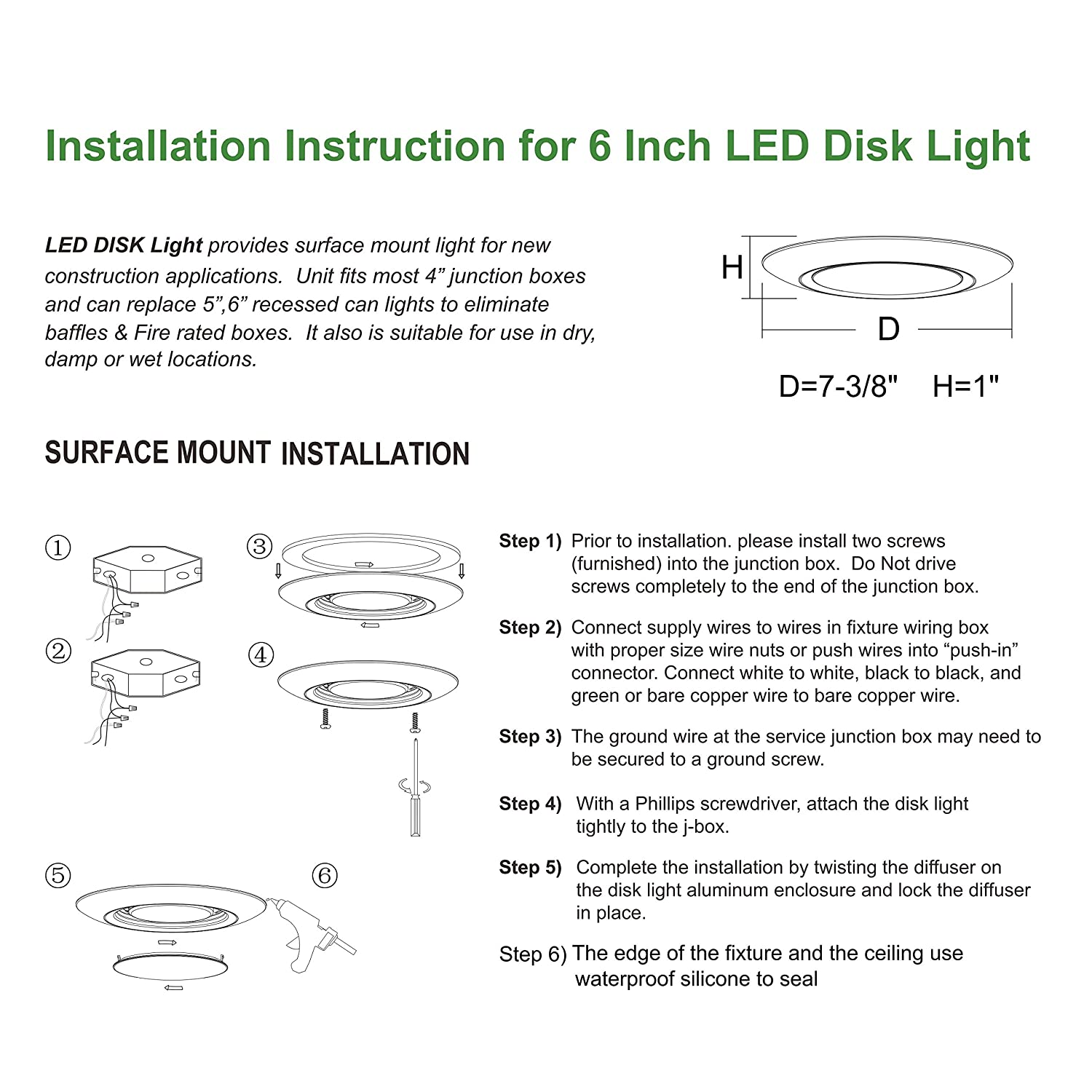 Hi-Bright 6 inch Surface Mount LED Disk Light, Dimmable