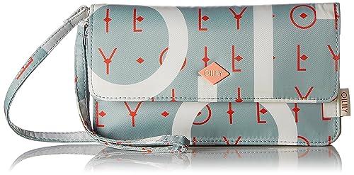 Oilily - Groovy Letters Clutch Mhf, Carteras de mano con asa Mujer, Azul (