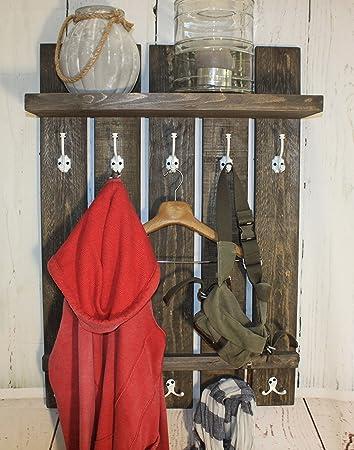 Dekorie67 Holz Garderobe Im Landhaus Stil Braun Vintage Shabby