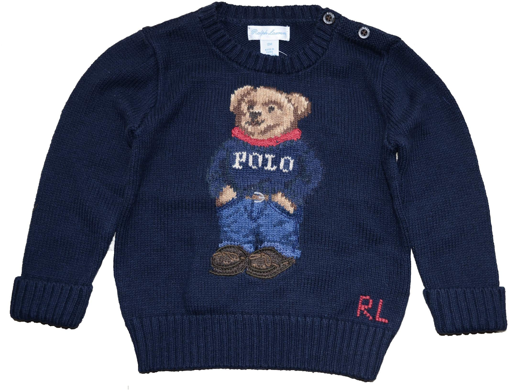 Ralph Lauren Baby Boy Girl Polo Bear Sweater 12 M Navy by Ralph Lauren