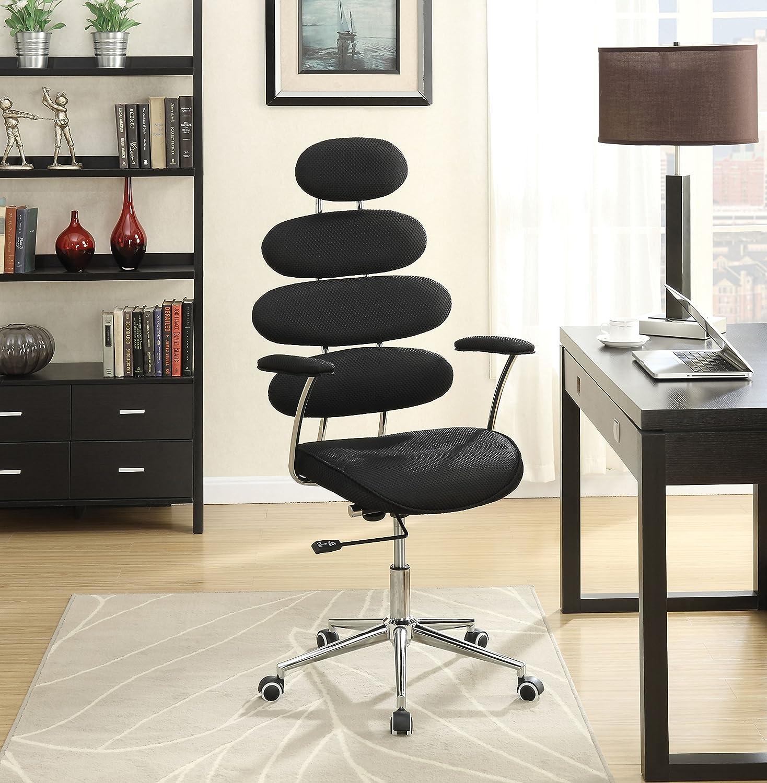 Benzara BM152006 Noma Office Chair Black Mesh