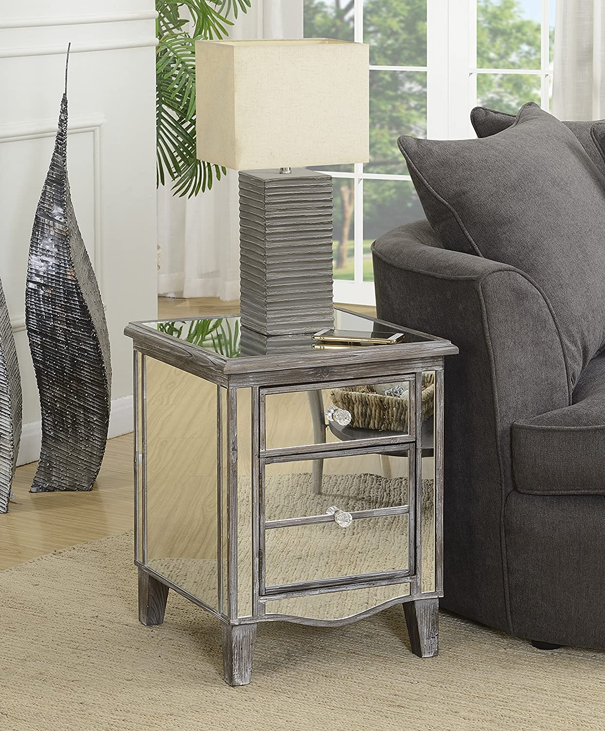 Convenience Concepts 413551WGY Gold Coast Mirrored End Table, Weathered Gray