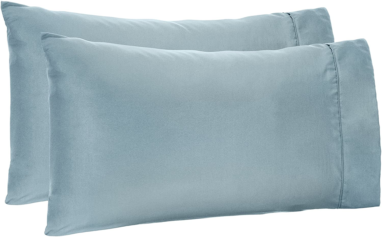 AmazonBasics Microfiber Pillowcases - 2-Pack, Standard, Spa Blue