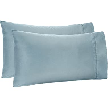 AmazonBasics Light-Weight Microfiber Pillowcases | 2-Pack, Standard, Spa Blue