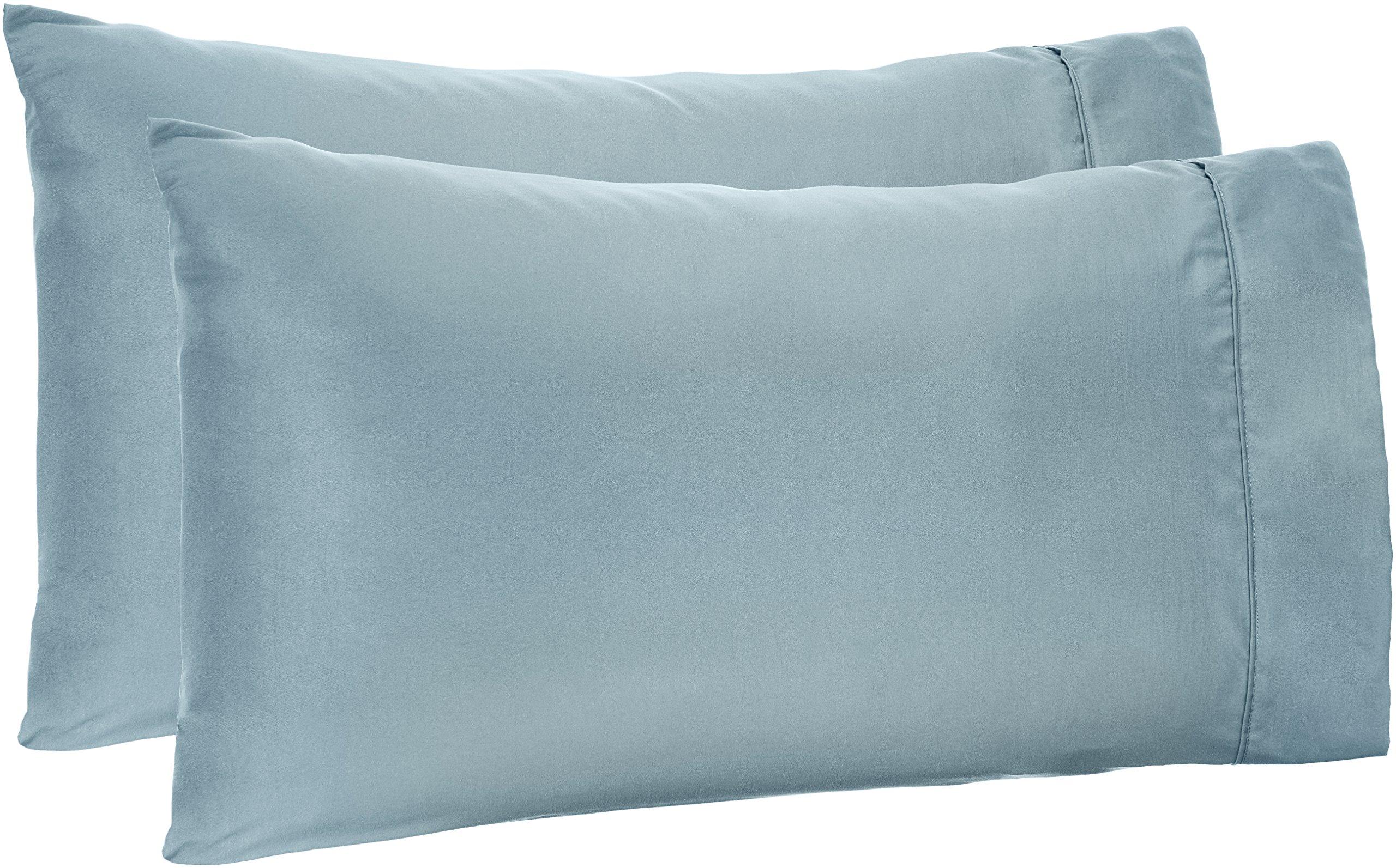 AmazonBasics Microfiber Pillowcases - 2-Pack, King, Spa Blue