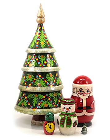Weihnachtsbaum Matryoshka Souvenir 5 teilig Höhe 24 cm.: Amazon.de ...