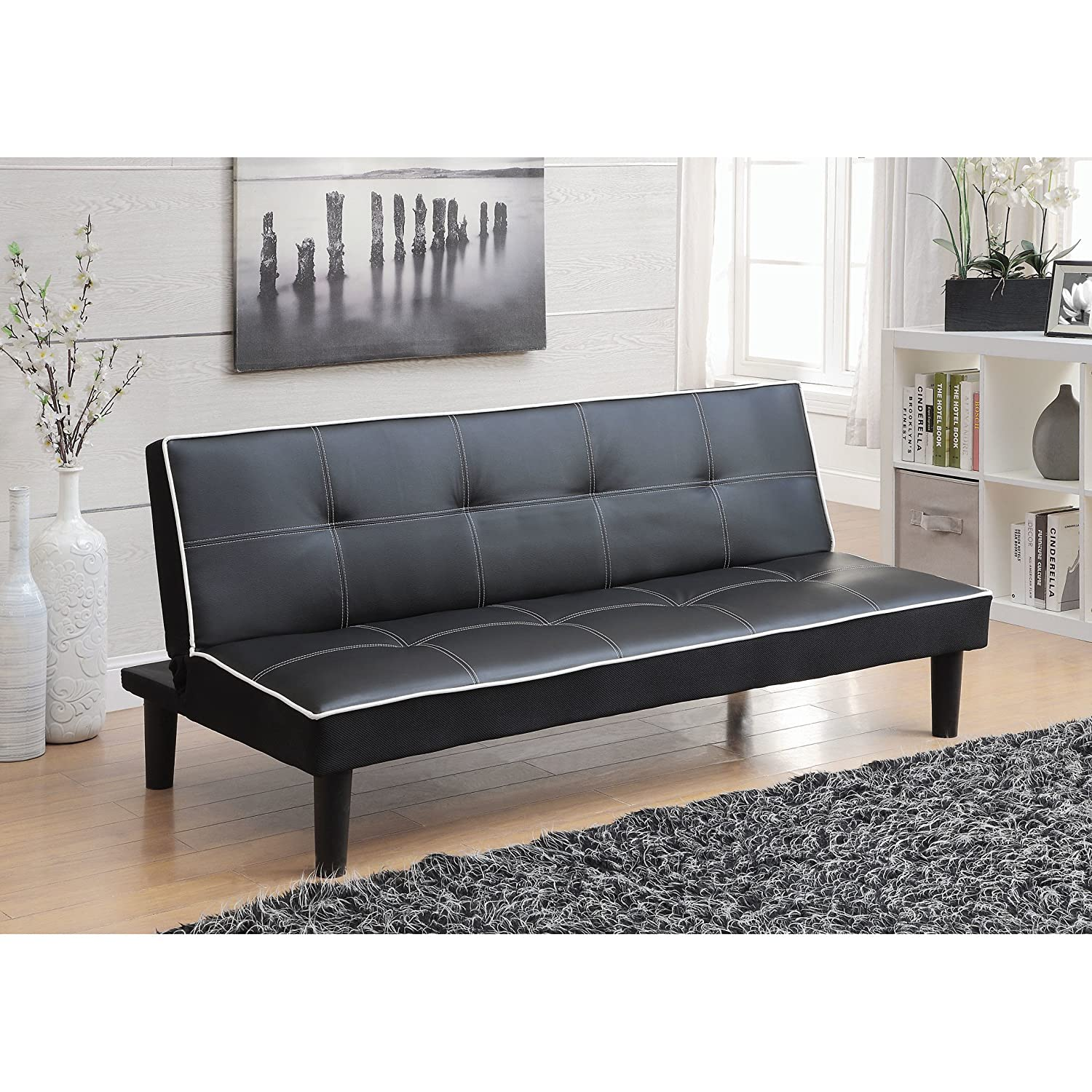 Amazon Convertible Design Ailith Leather Sleeper Sofa Made w