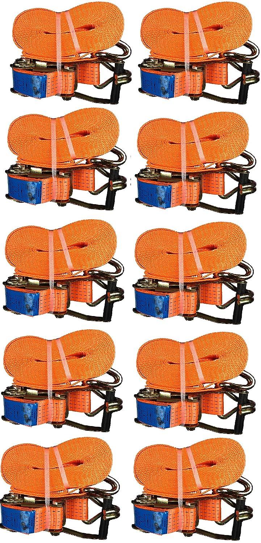 10x Spanngurt mit Ratsche 50mm/8 Meter LC 5000 kg, Spitzhaken, Zurrgurte, Gurt, Gepä ckgurt, Ratschenspanngurt Seilediscount
