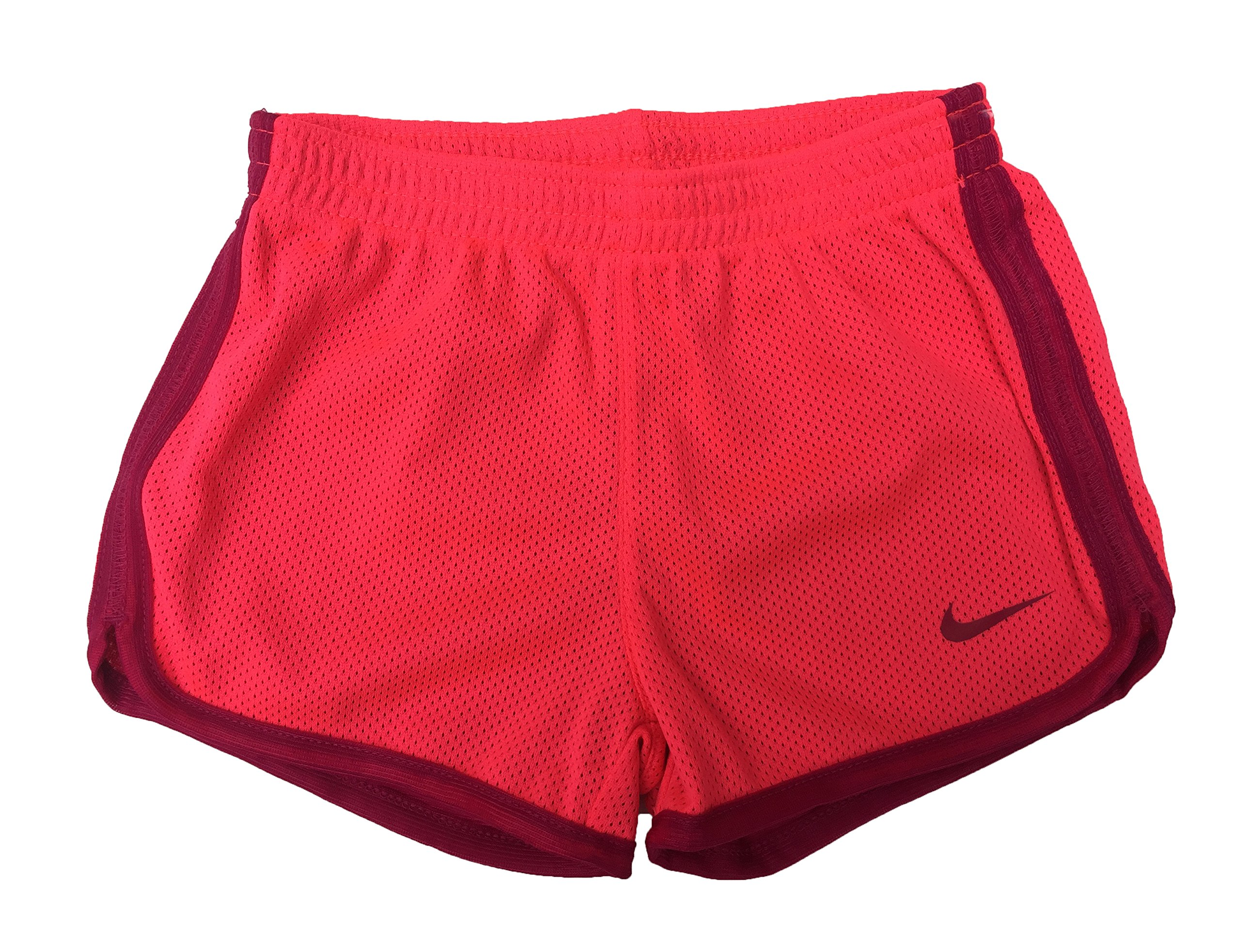 Nike Little Girls Tempo Shorts (2T Toddler, Mesh_Racer_Pink (A4F) / Red/Solid Red)