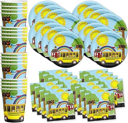 Amazon.com: Autobús escolar fiesta de cumpleaños suministros ...
