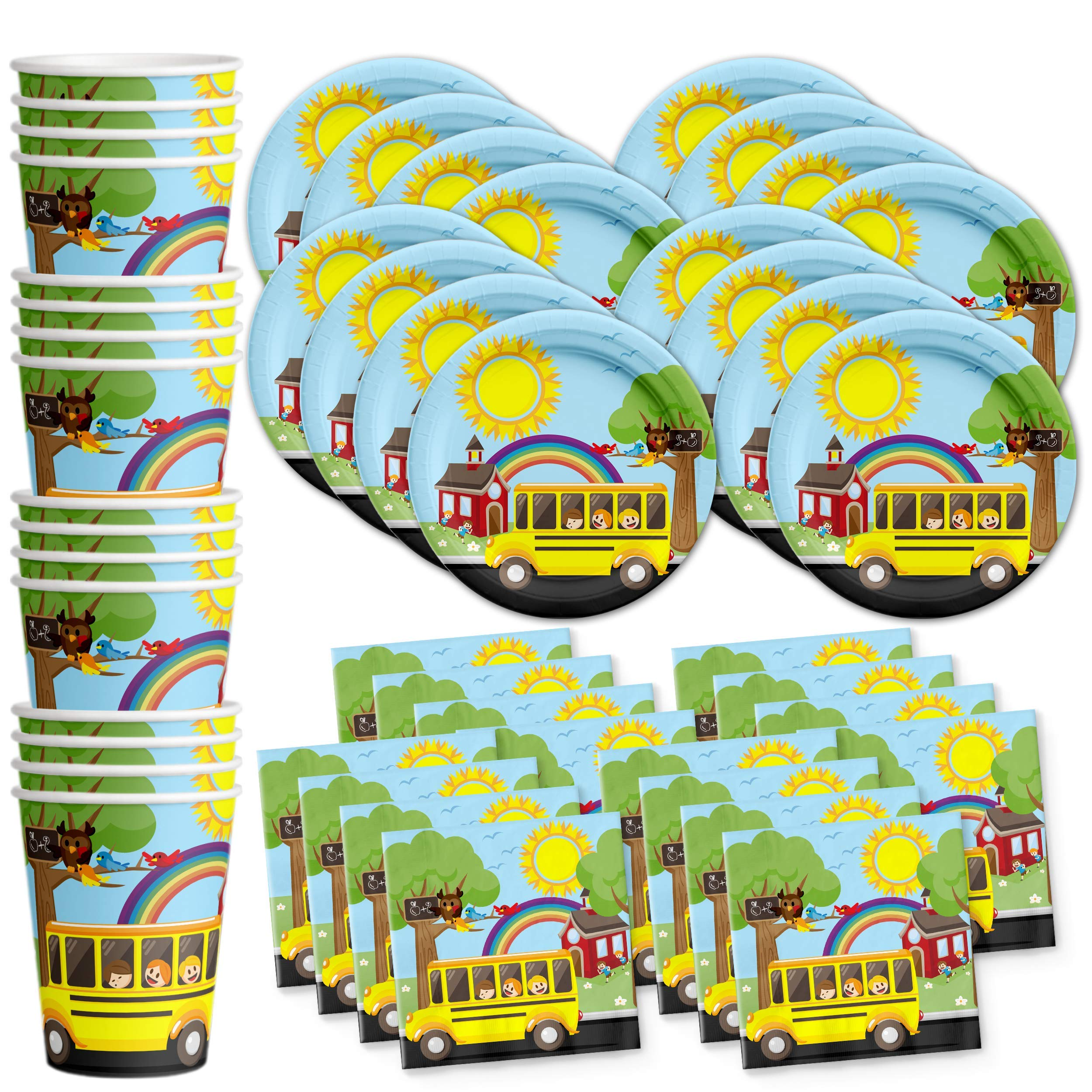 School Bus Birthday Party Supplies Set Plates Napkins Cups Tableware Kit for 16