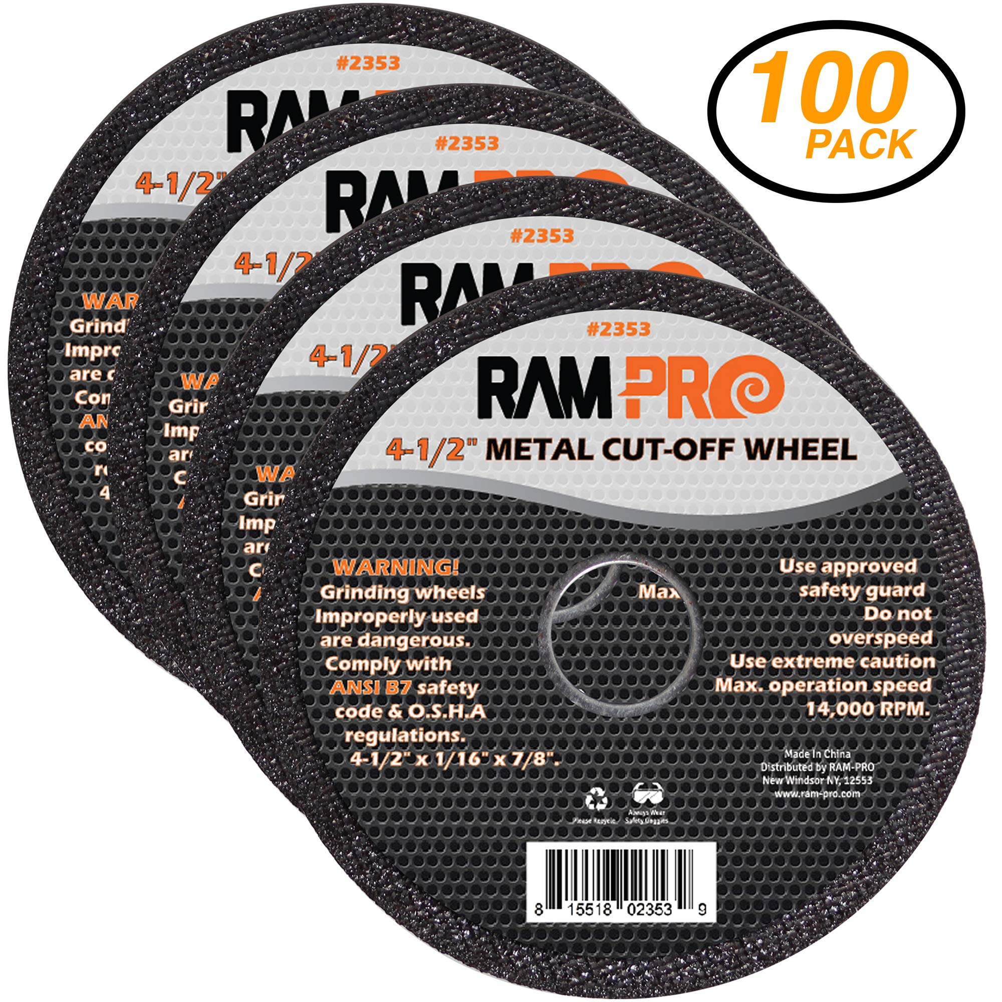 Ram-Pro 4-1/2 Inch Metal Cut-Off Wheel Blades | Abrasive Arbor Grinder Disc Set Ideal for Cutting, Grooving, Sanding and Trimming Ferrous Metal & Steel (100 Pack).