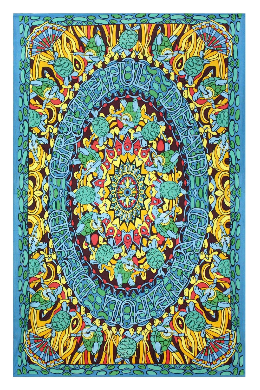 Sunshine Joy Grateful Dead Terrapin Dance Tapestry Tablecloth Wall Art Beach Sheet Huge 60x90 Inches