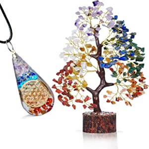 FASHIONZAADI Seven Chakra Gemstone Tree & Onyx Pendant Reiki Healing Crystal Money Bonsai Feng Shui Gift Handmade Crystals & Stone Home Office Table Décor Good Luck Jewelry Lucky Charm Aura Cleansing